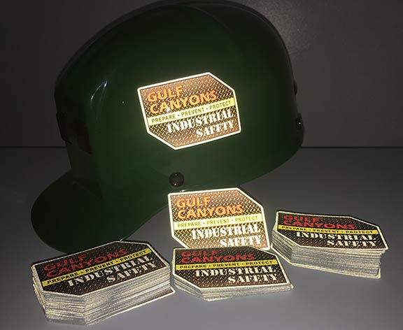 Custom industrial safety hard hat stickers