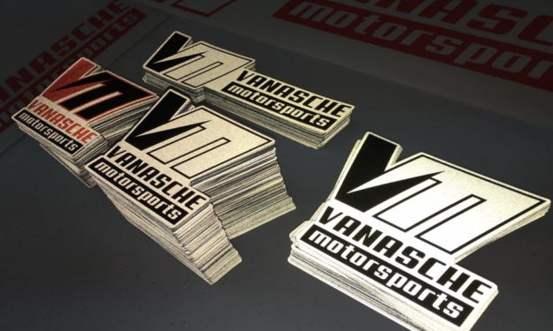 Vanasche Motrsports Custom Cut Reflective Stickers at night