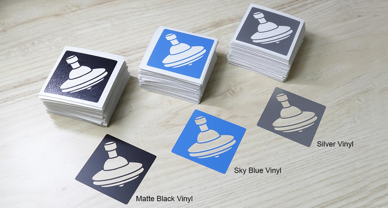 Tops die cut stickers in 3 colors