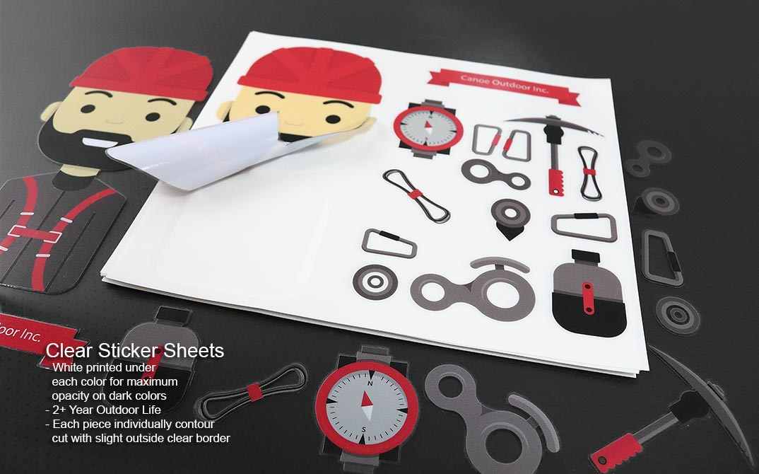 Clear vinyl sticker sheets for outdoors