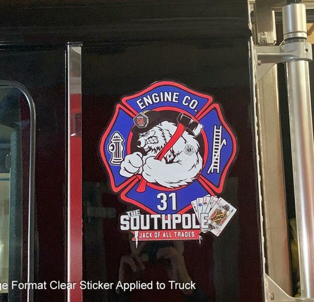 Large Format Clear Sticker on Fire Truck