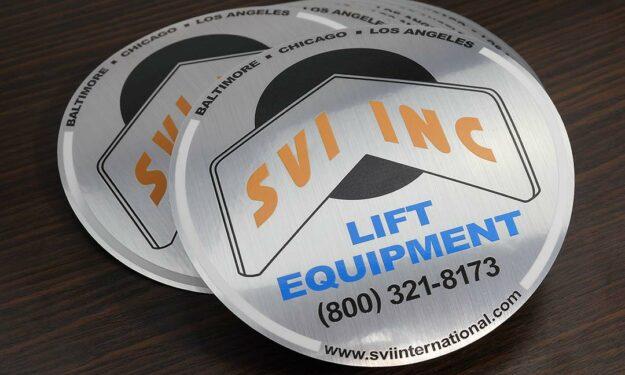 Custom Shape Brushed Aluminum Stickers
