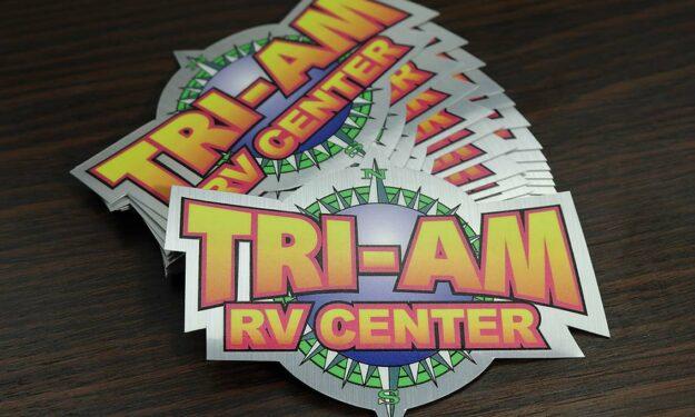 Brushed Aluminum RV Bumper Stickers