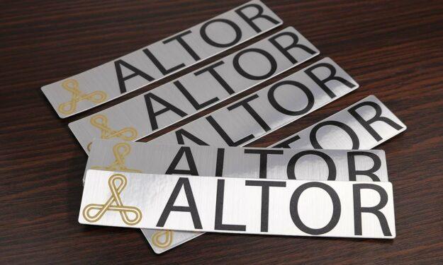 Brushed Aluminum Logo Stickers