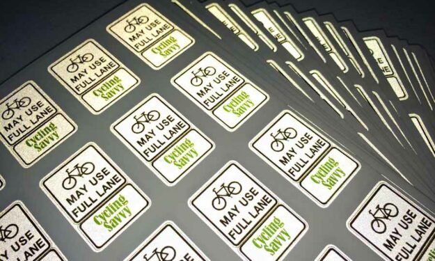 Cycling Savvy Reflective Sticker Sheets at night
