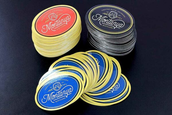 Contour Cut Montanya Distillery Oval Stickers - Glossy Laminate