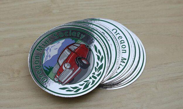 Mirror Silver Chrome Car Club Stickers