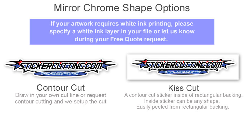 Mirror Chrome Sticker Custom Shapes